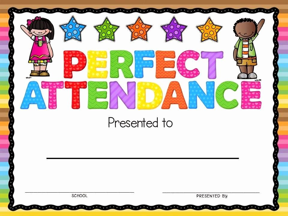 Perfect attendance Certificate Word Lovely Perfect attendance Award Freebie