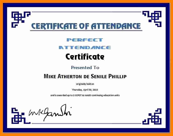 Perfect attendance Certificate Word Luxury Free Printable Perfect attendance Certificate