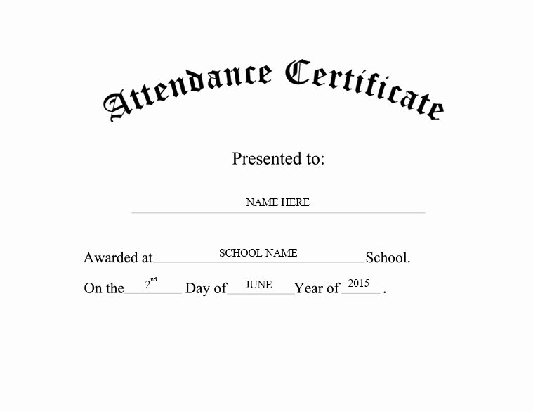 Perfect attendance Certificate Word Unique 13 Free Sample Perfect attendance Certificate Templates