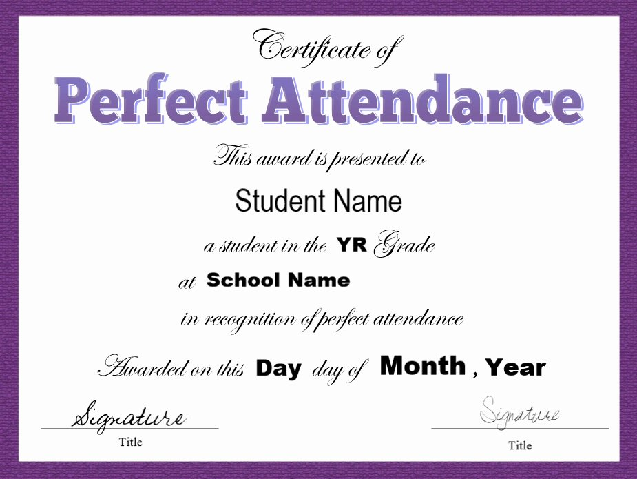 Perfect attendance Certificate Word Unique 8 Free Sample attendance Certificate Templates Printable