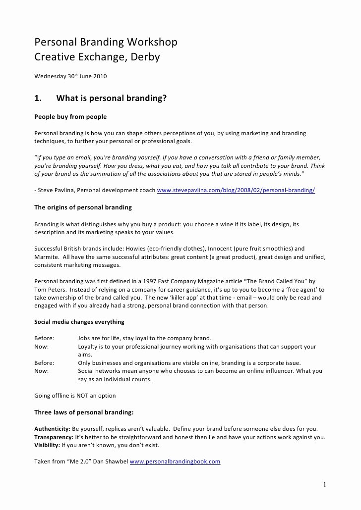 Personal Brand Statement Examples Awesome Personal Branding In the Digital Age Course Handouts