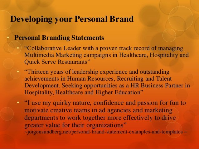Personal Branding Statements Examples Unique Leveraging Your Network for Career Search Success by