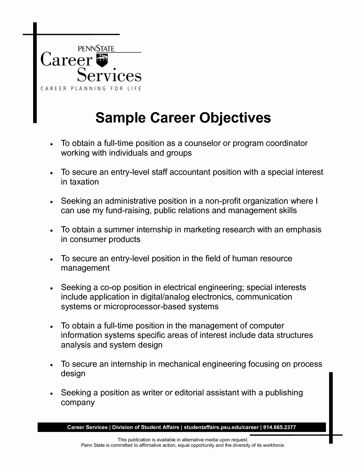Personal Goal Statement Awesome Personal Objective Statement Examples as to why