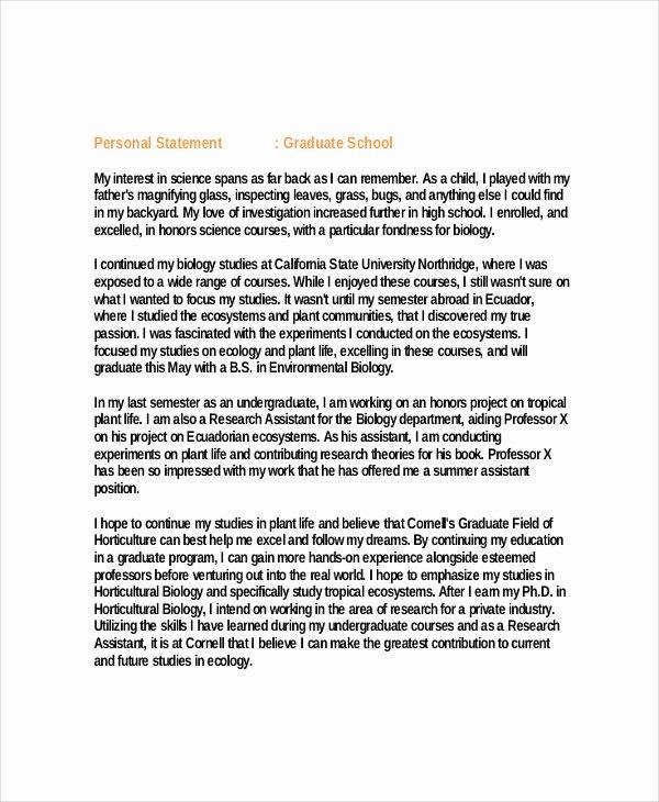 Personal Goal Statement format Fresh Personal Statement Graduate School