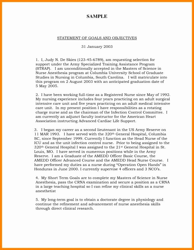 Personal Goal Statement format New Sample Personal Goal Statement for College 6 Points