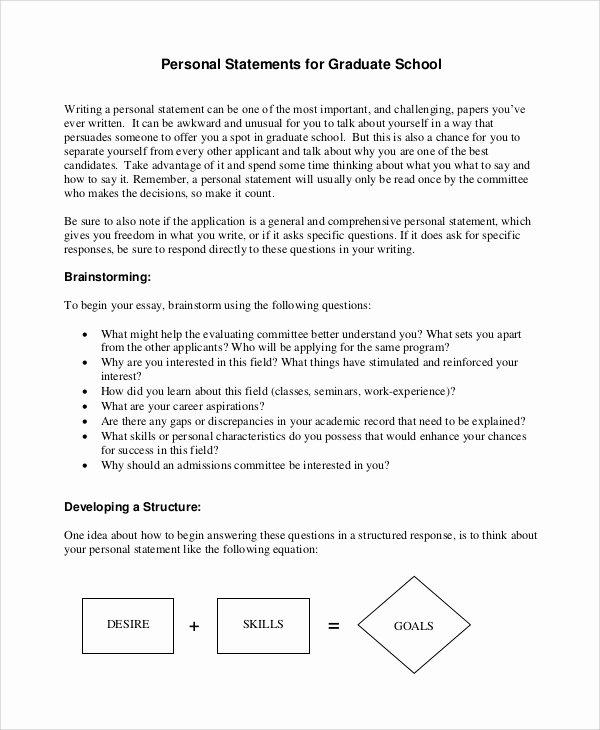 Personal Goal Statement format Unique Sample Personal Statement for Medical School 7 Examples
