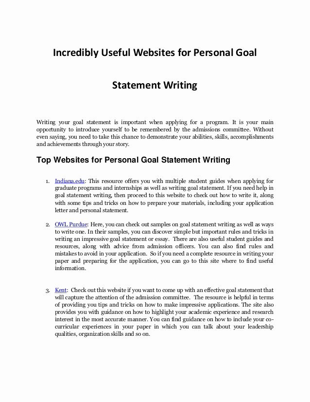 Personal Goal Statement Fresh Personal Goal Statement Writing Resources Every Student Needs
