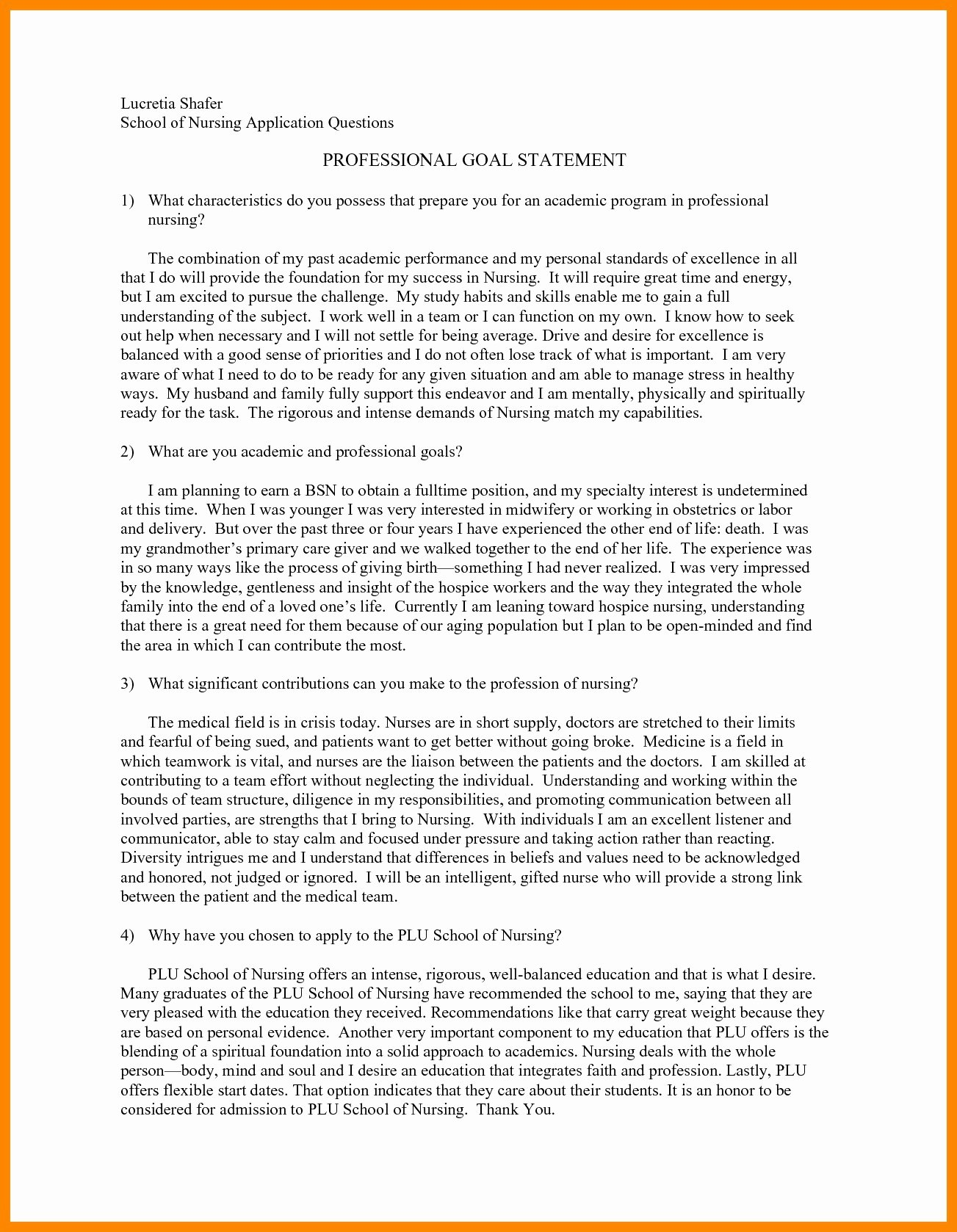 Personal Goals Statement Best Of Example Personal Statement for Dnp Program
