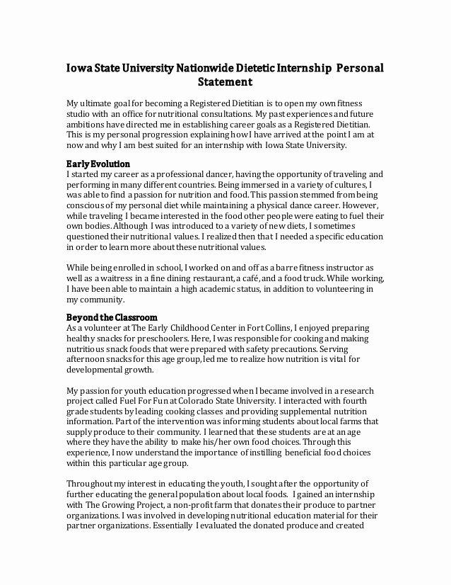Personal Goals Statement Best Of Iowa State University Nationwide Dietetic Internship