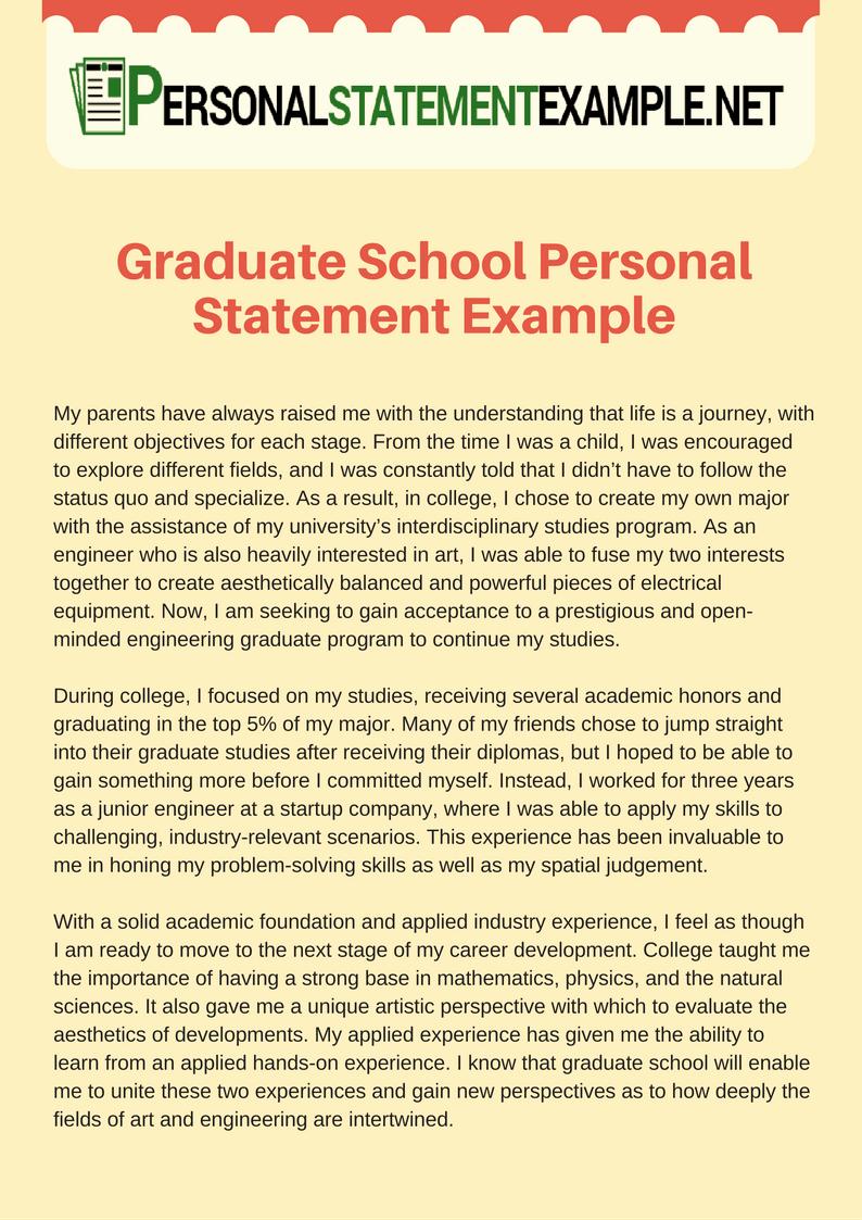 Personal Goals Statement Elegant Graduate School Personal Statement Example