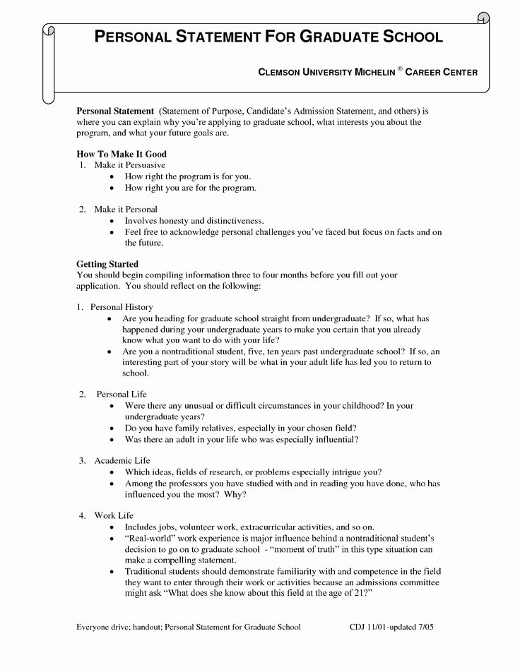 Personal History Statement Example Best Of Grad School Personal History Statement Sample