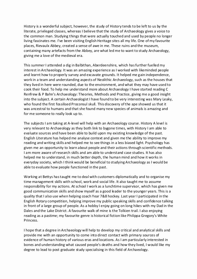 Personal History Statement Example New History Personal Statement