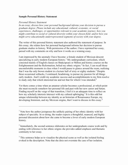 Personal History Statement Sample Best Of Sample Personal History Statement