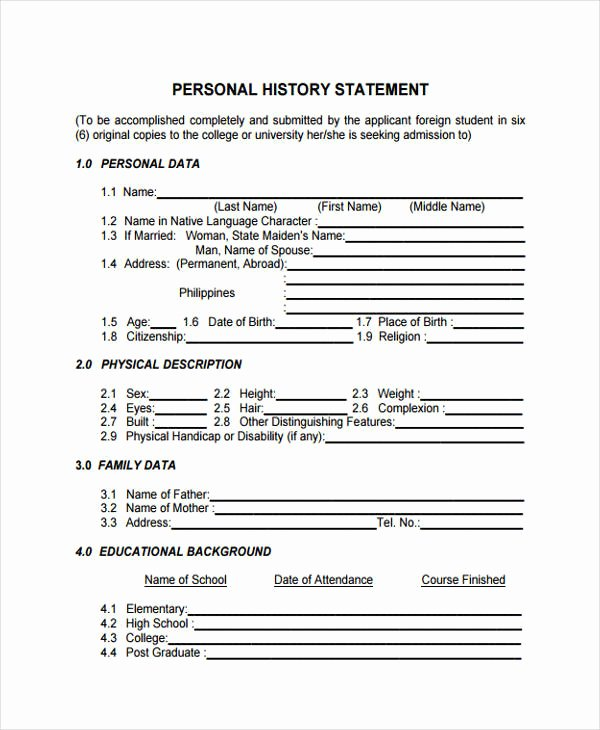 Personal History Statement Samples Awesome Free 36 Example Of Statement forms