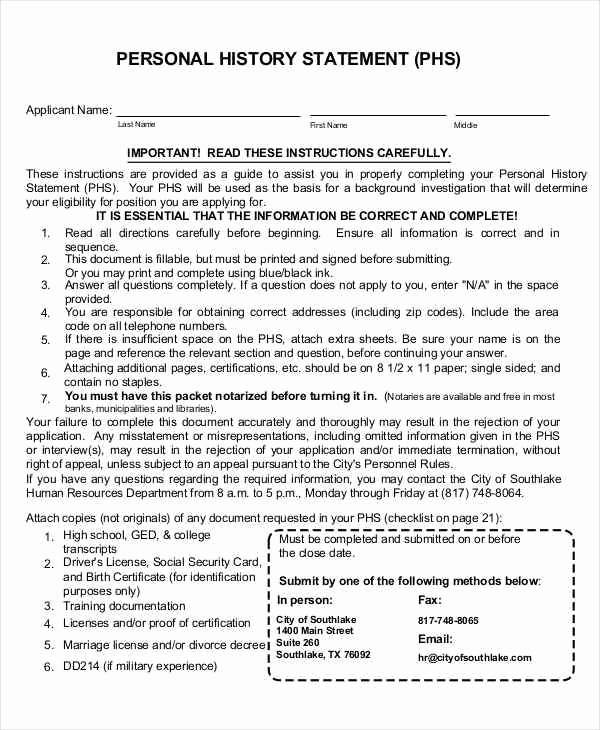 Personal History Statement Samples Best Of 19 Sworn Statement Examples & Samples In Pdf Word