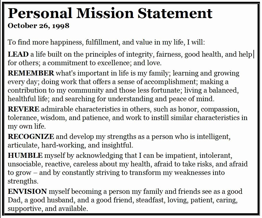 Personal Mission Statement Examples Inspirational Bill Camarda A Father and son Converse