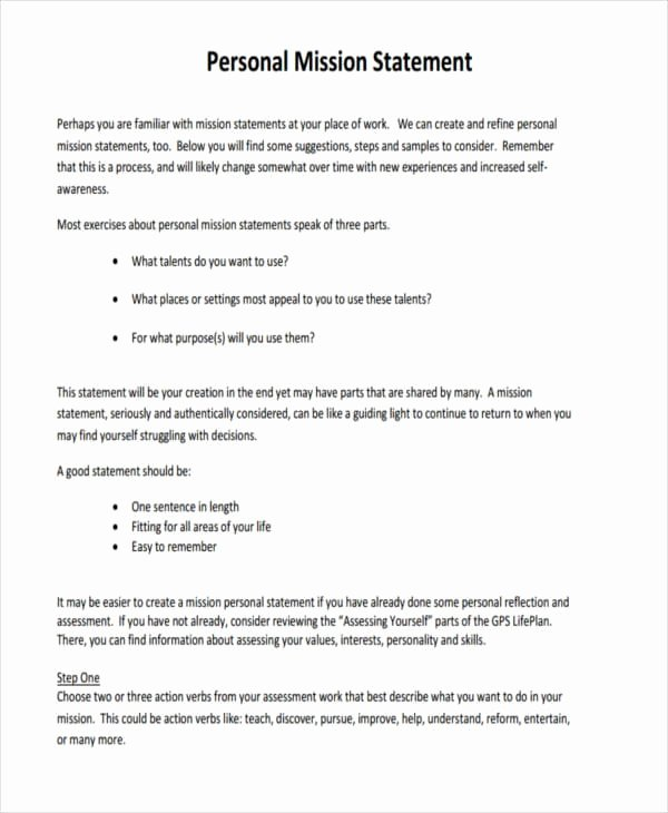 Personal Mission Statement Examples Lovely Free 51 Statement Examples In Pdf