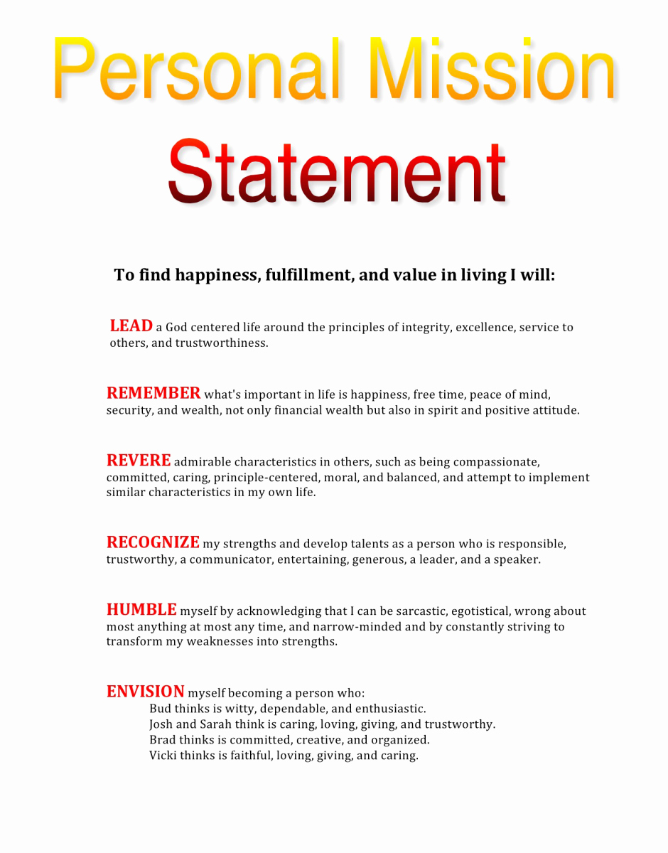 Personal Mission Statement Samples Awesome My Personal Mission Statement