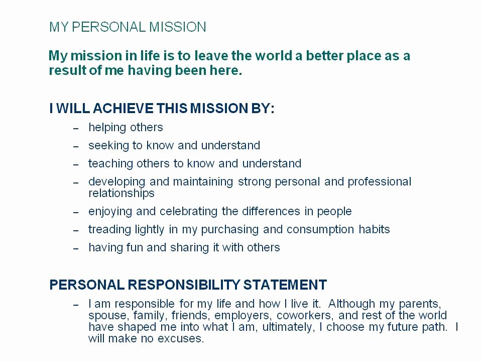 Personal Mission Statement Samples Awesome Writeest Blog