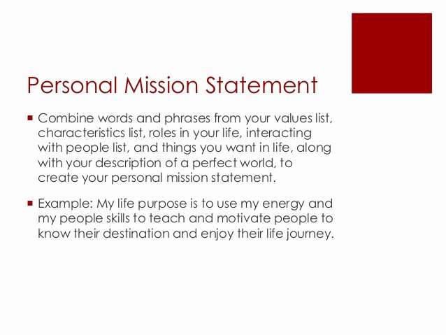Personal Mission Statement Samples Inspirational Vision Mission Goals Objectives