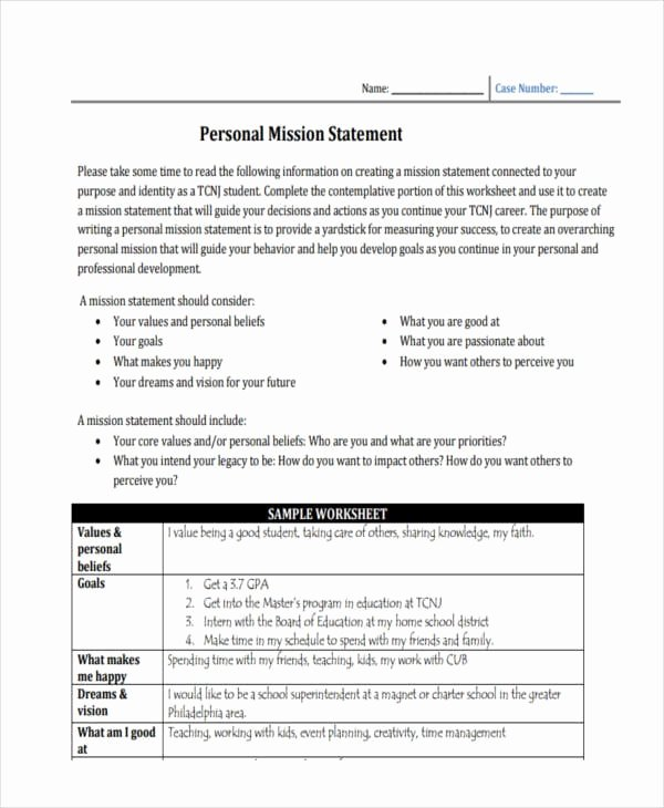 Personal Mission Statement Templates Elegant Free 54 Mission Statement Examples & Samples In Pdf
