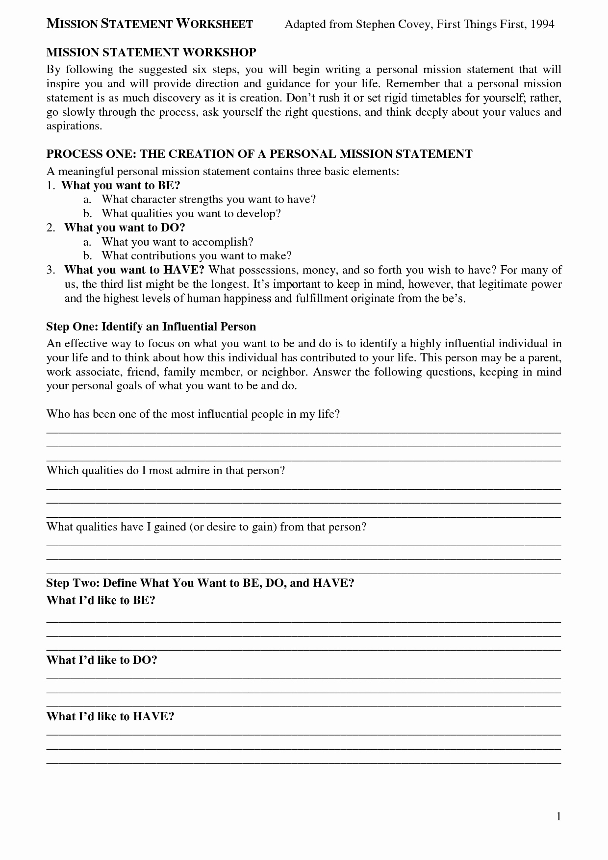 Personal Mission Statement Worksheet Luxury Sean Covey Mission Statement Worksheet Bing
