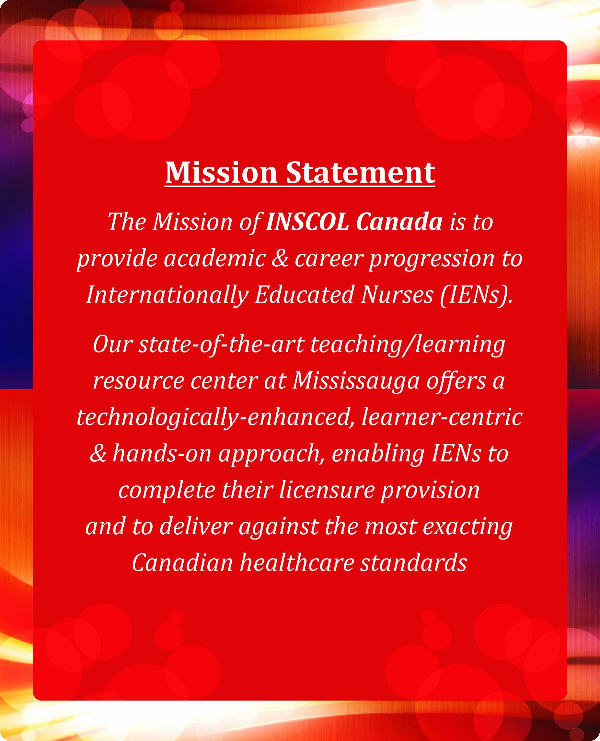 Personal Nursing Mission Statements Elegant Inscol Mission Statement Nursing Programs In Ca Uk Uas Aus Nz