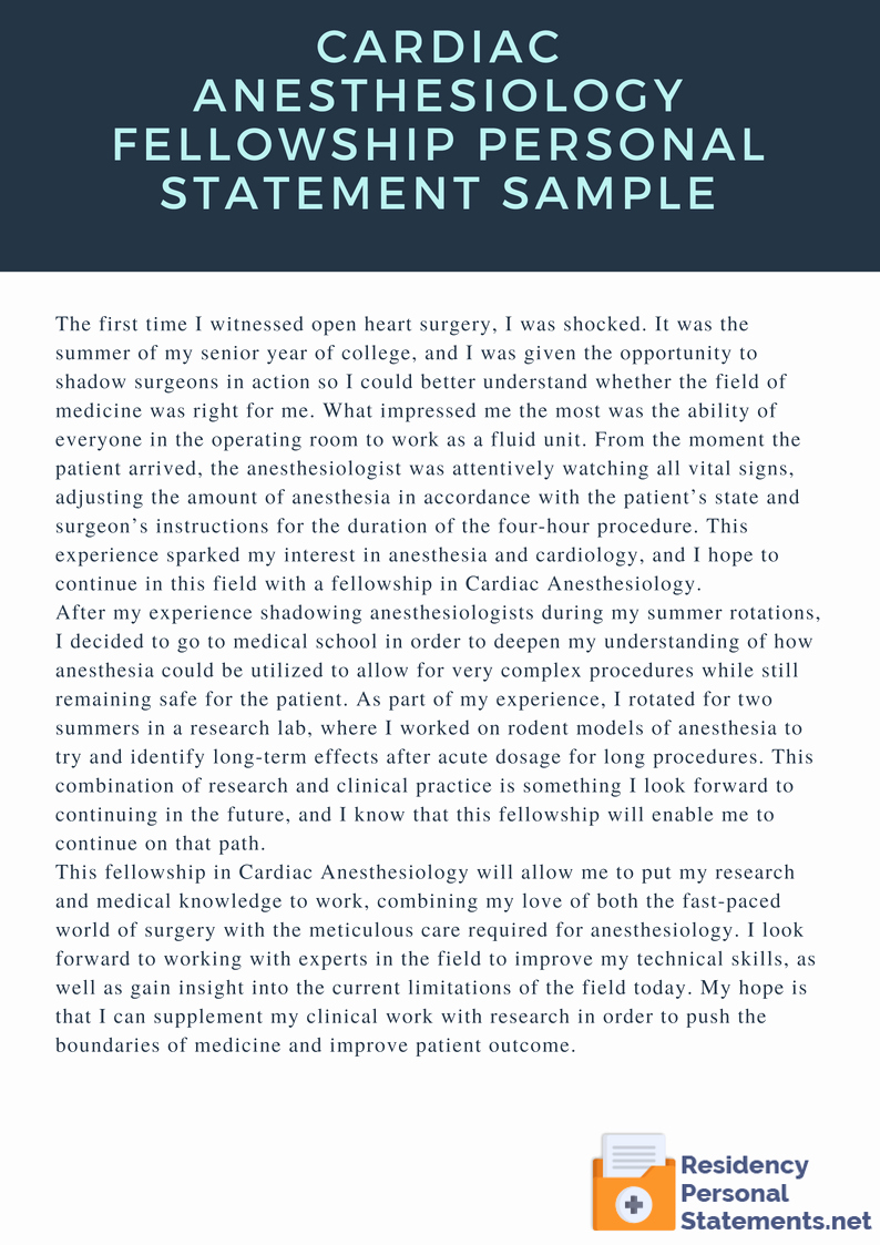 Personal Statement for Fellowship Best Of Cardiac Anesthesiology Fellowship Personal Statement