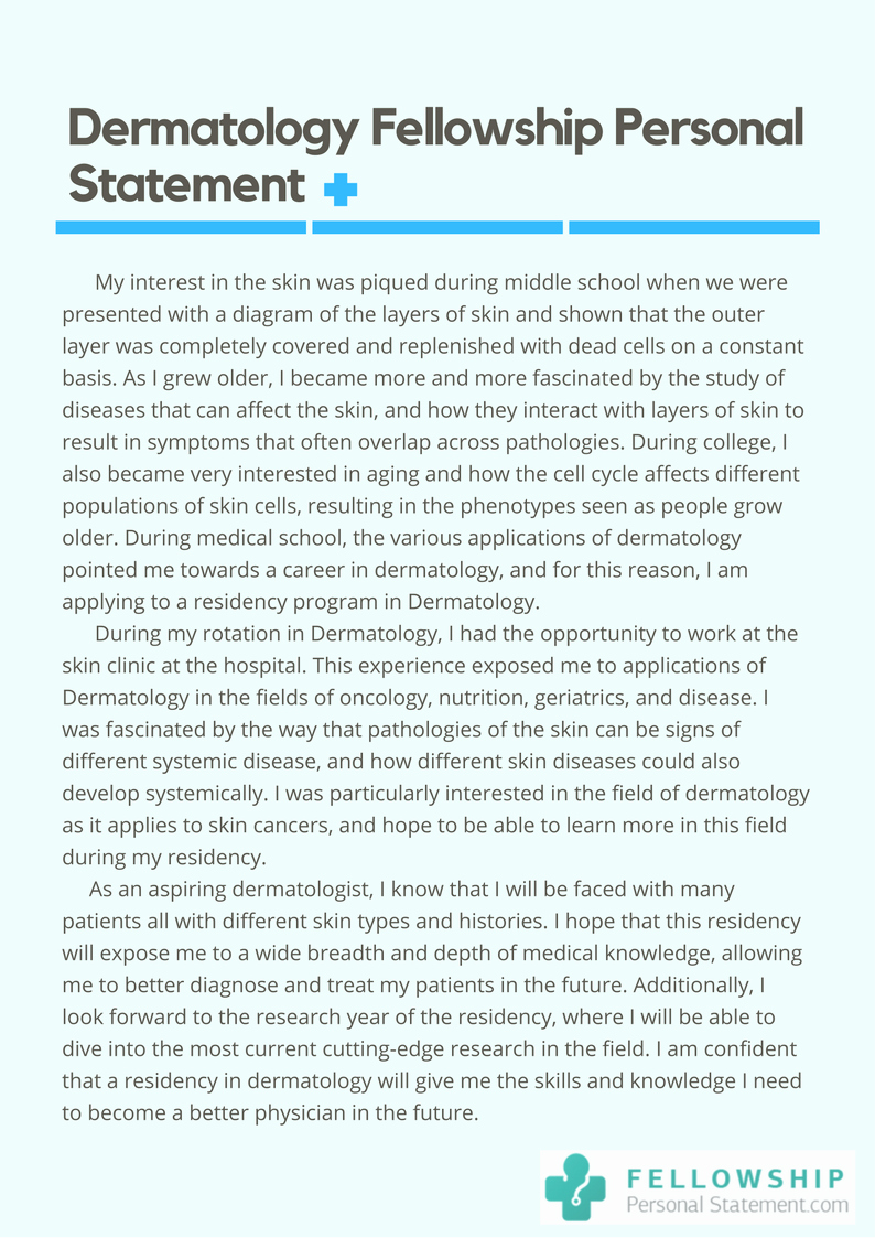 Personal Statement for Fellowship Examples Unique Dermatology Personal Statement Tips Requirements Sample