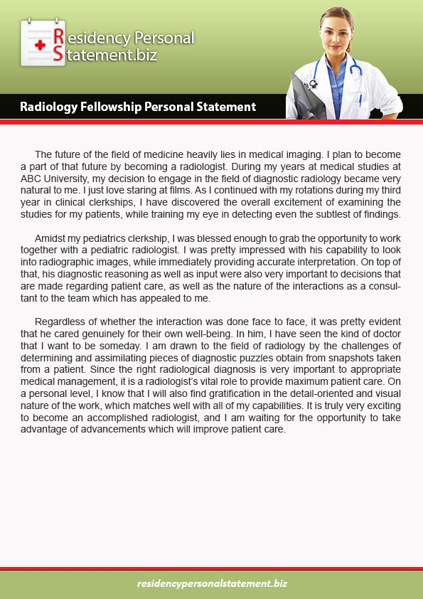 Personal Statement for Fellowship Lovely Radiology Fellowship Personal Statement Writing Service