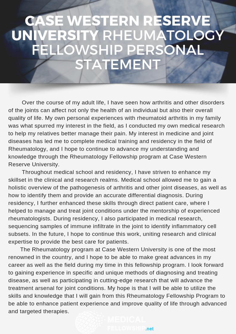 rheumatology fellowship personal statement service