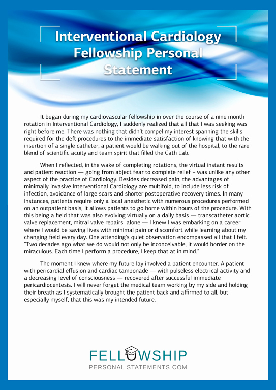 Personal Statement for Fellowship Sample Beautiful Interventional Cardiology Fellowship Personal Statement