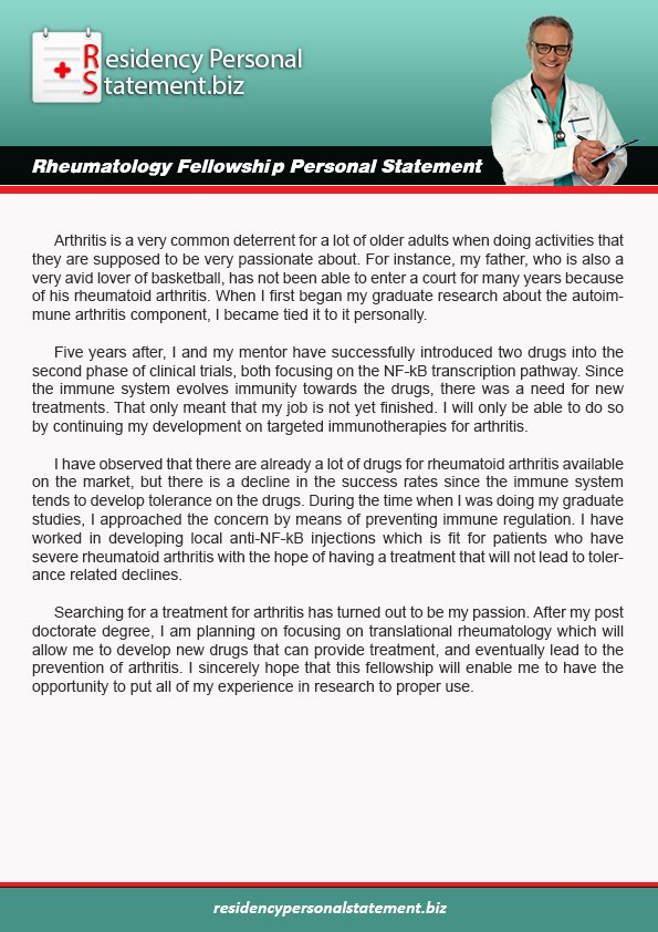Personal Statement for Fellowship Sample Beautiful Rheumatology Fellowship Personal Statement Writing Example
