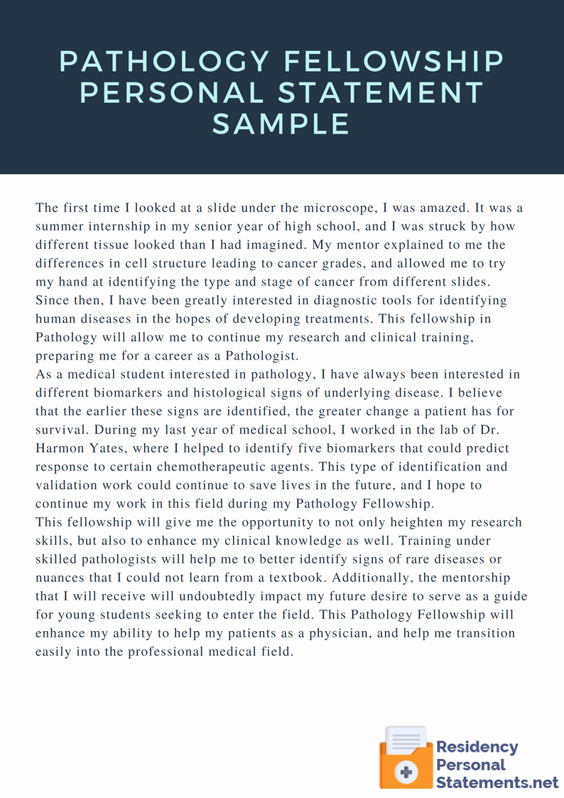 personal statement residency examples for different specialties