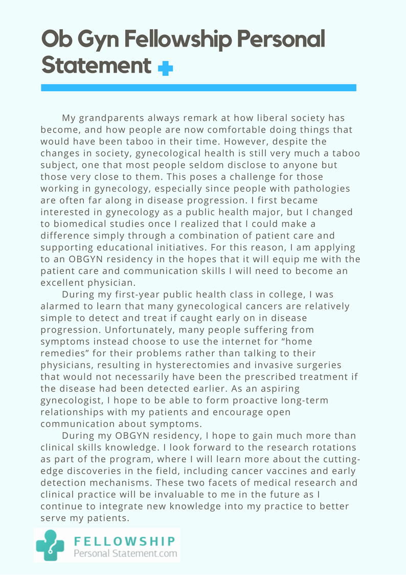 Personal Statement for Fellowship Sample Elegant An Impressive Fellowship Obgyn Personal Statement