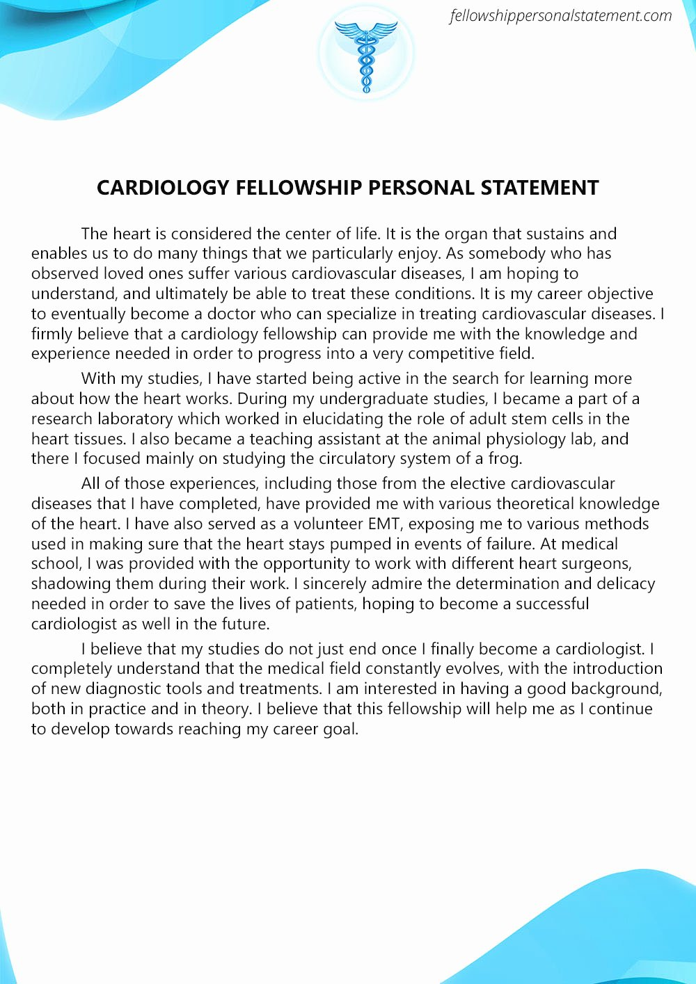 Personal Statement for Fellowship Sample Fresh Exceptional Cardiology Fellowship Personal Statement Writing