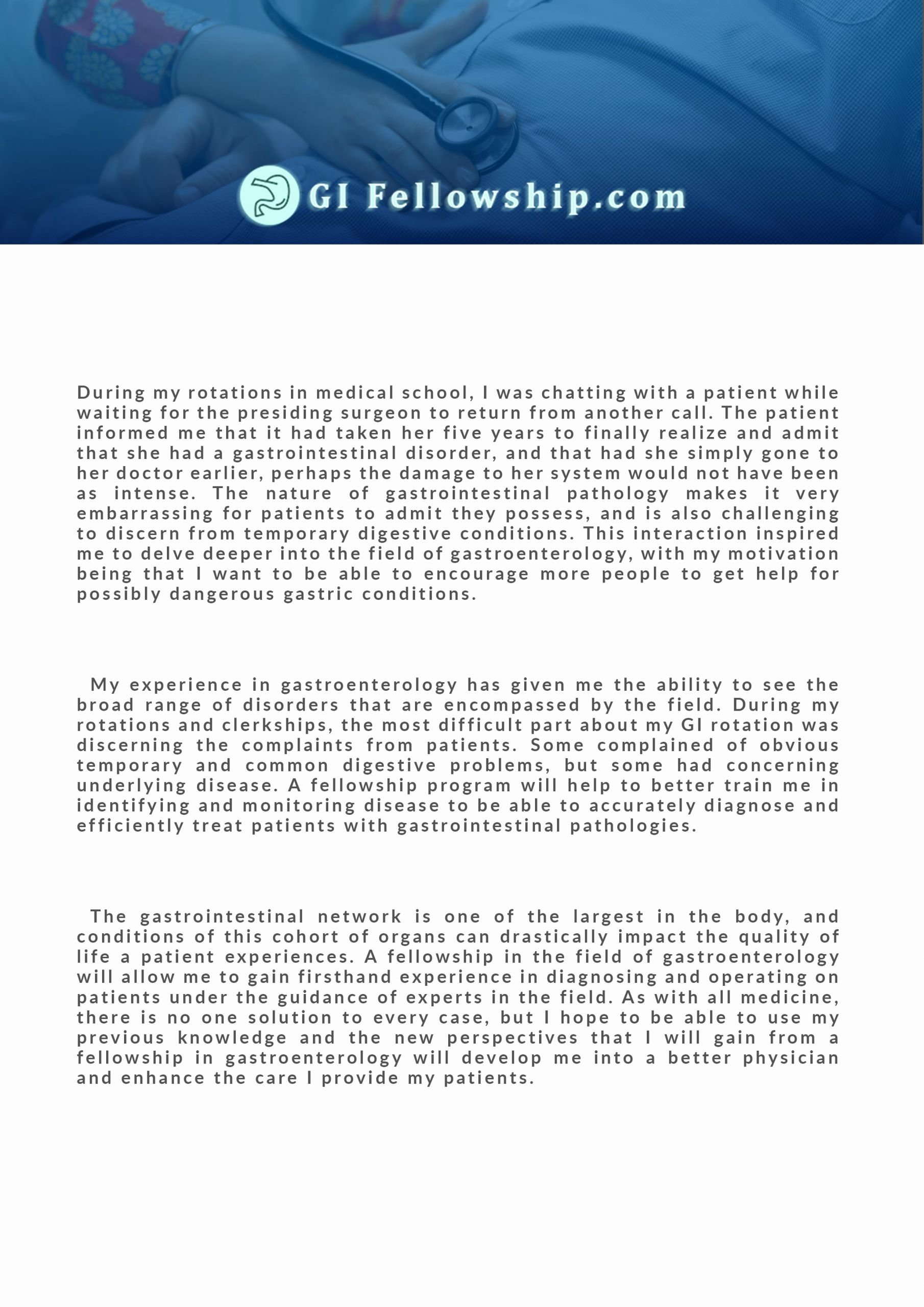 Personal Statement for Fellowship Sample New Gi Fellowship Personal Statement Sample and Writing Help