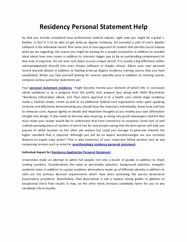 Personal Statement for Fellowship Sample New Residency Personal Statement Help
