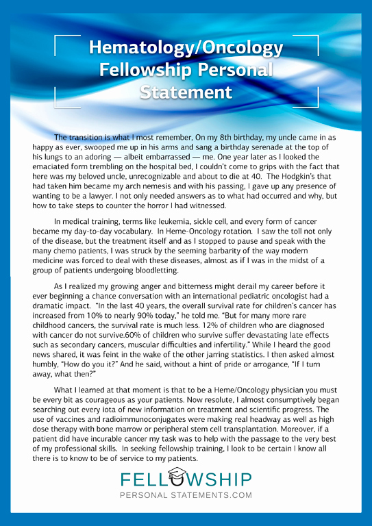 Personal Statement for Fellowship Unique Hematology Cology Fellowship Personal Statement Writing Tips