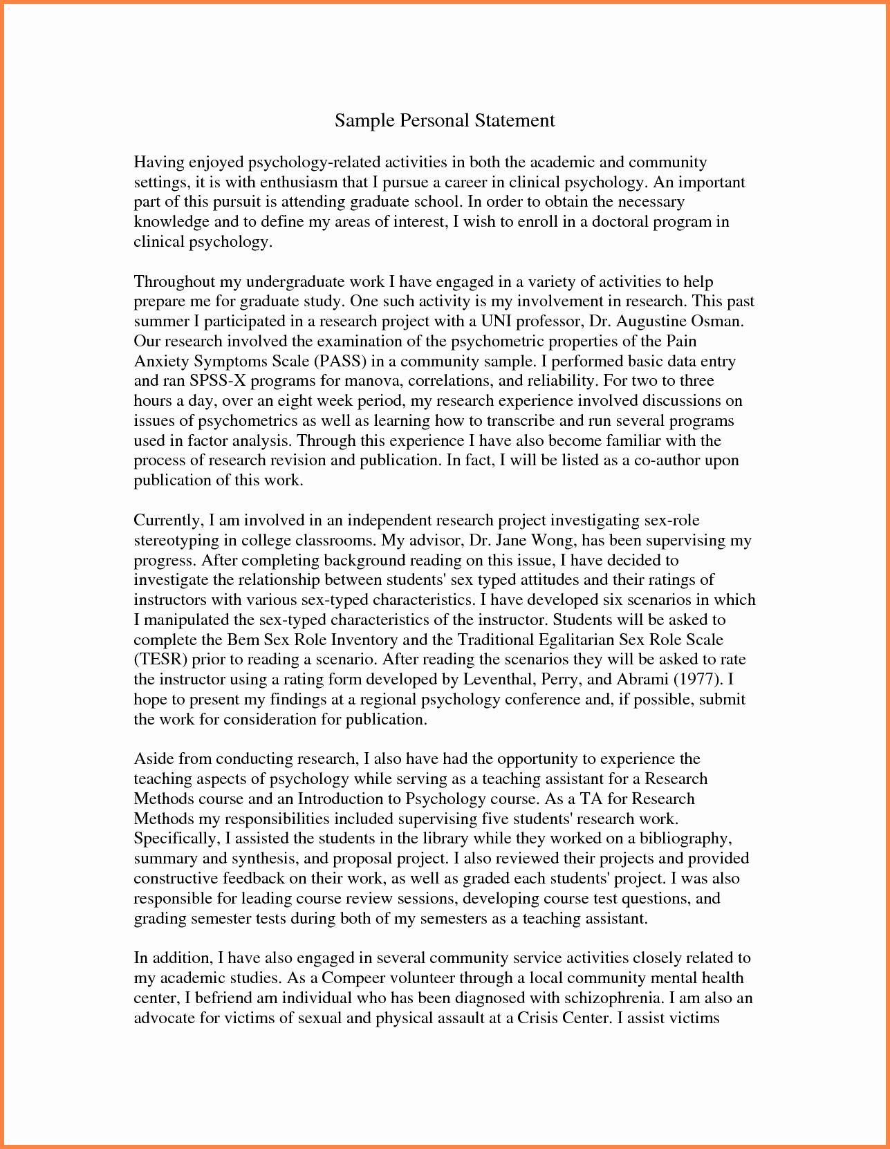 Personal Statement for Graduate School Sample Fresh Grad School Personal Statement Examples