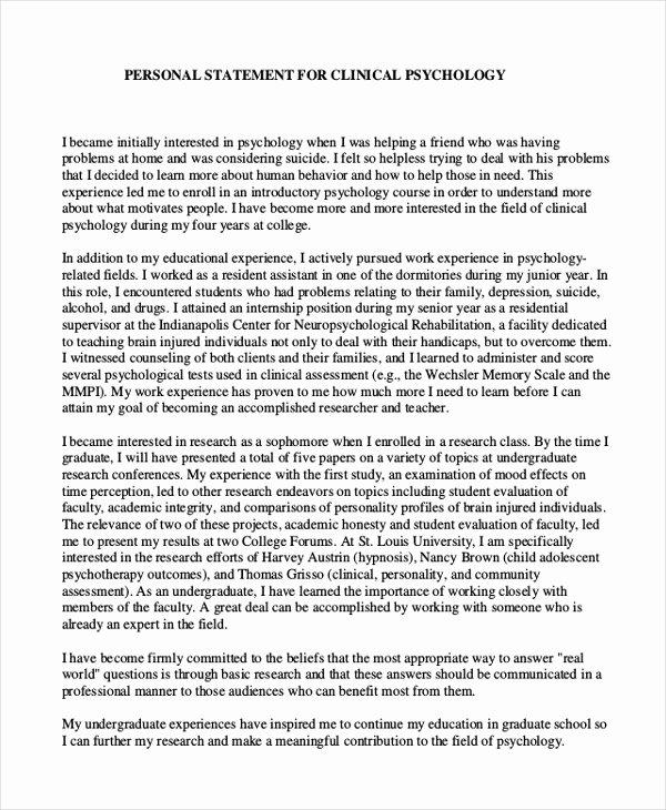 Personal Statement for Graduate School Sample Unique 11 Graduate School Personal Statement Examples