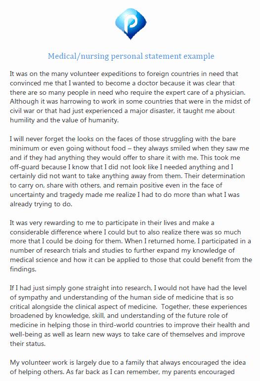 Personal Statement for Nursing School Unique Free Medical School or Nursing Personal Statement Example