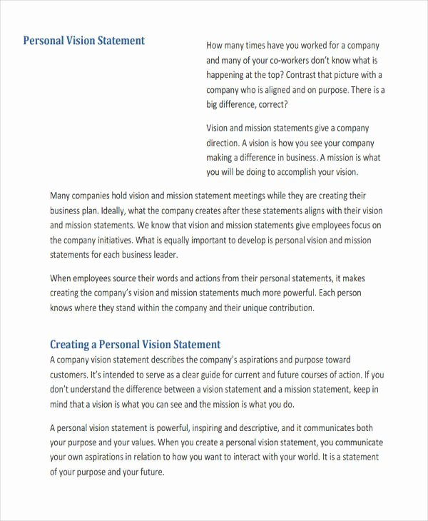 Personal Vision Statement Example Elegant Free 32 Statement Of Work Examples & Samples In Pdf