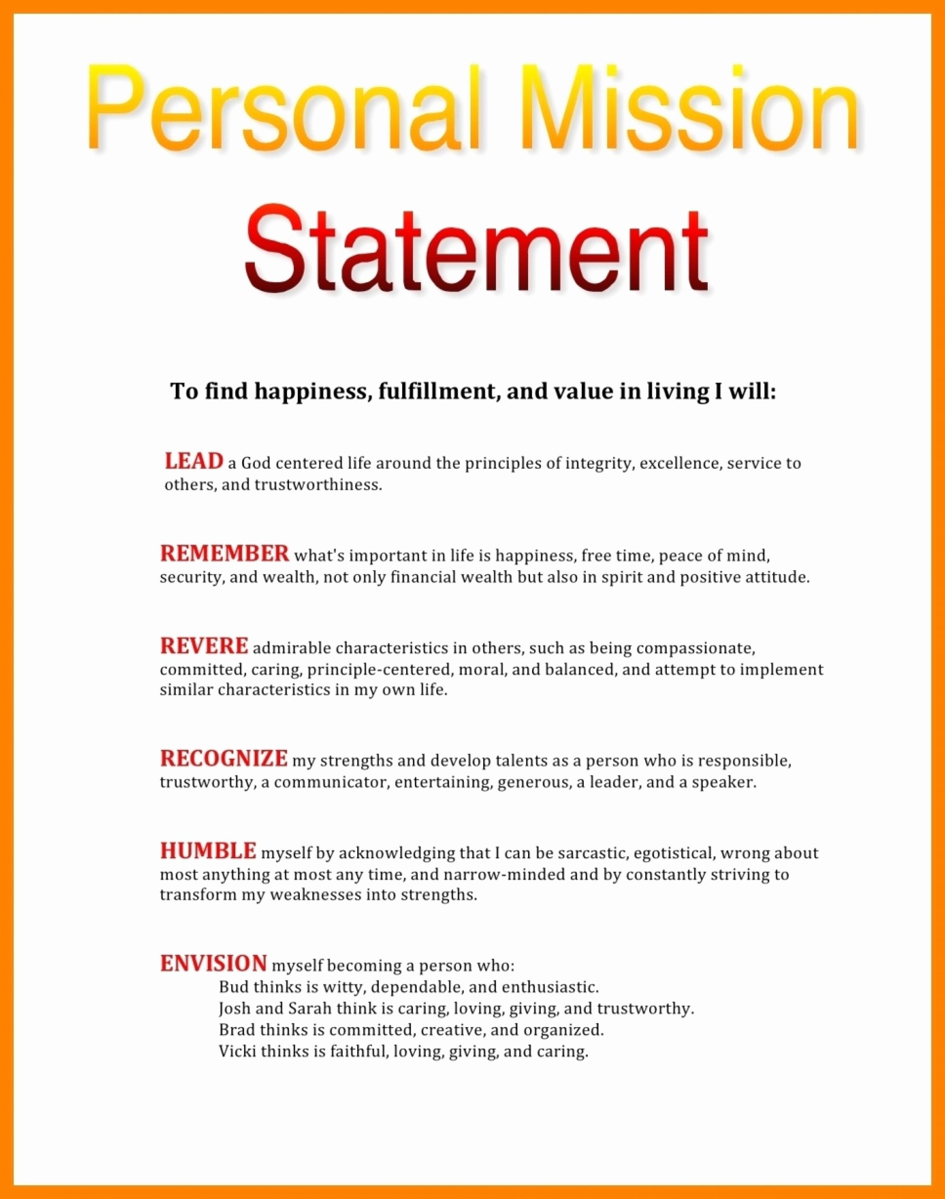 Personal Vision Statement Example Fresh 10 Examples Of Personal Vision Statements