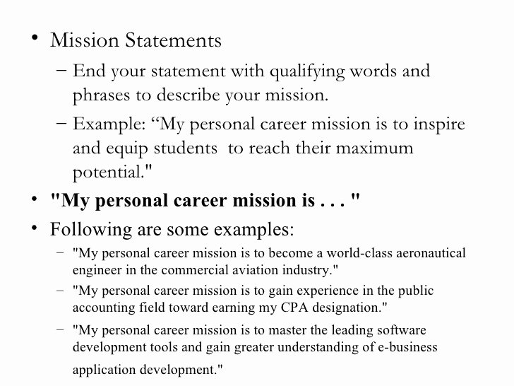 Personal Vision Statement Examples Business Elegant Personal Mission Statements College Homework Help and