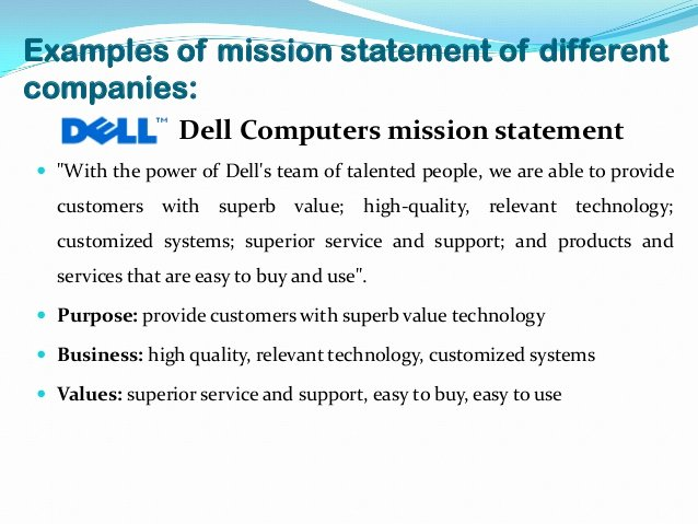 Personal Vision Statement Examples Business New Mission Statement Examples Alisen Berde