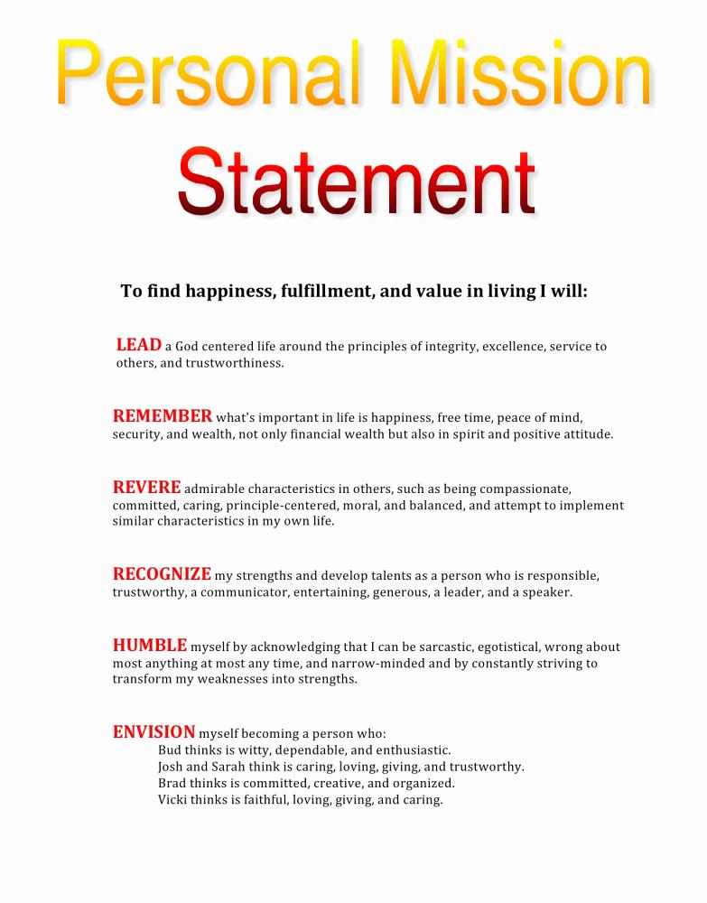 Personal Vision Statement Sample Unique Personal Values