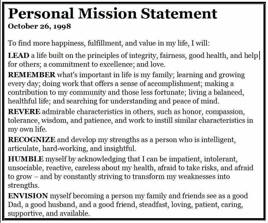 Personal Vision Statement Template Awesome Personal Mission Statement Template 1