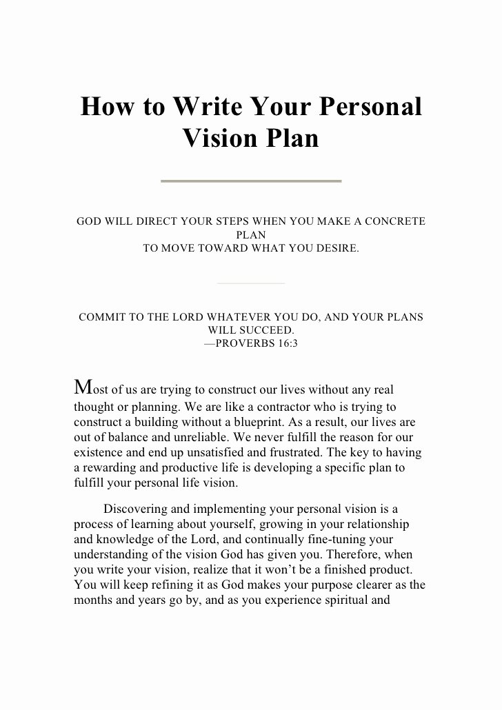 Personal Vision Statement Template Best Of Writing Your Personal Vision Plan