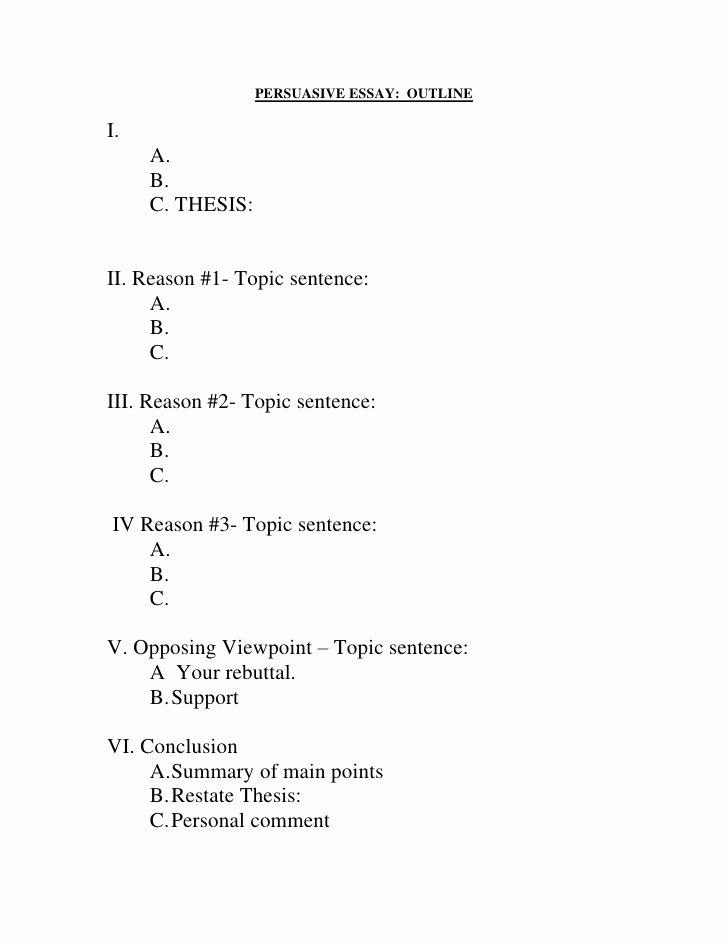 Persuasive Outline Sample Fresh Fill In Outline